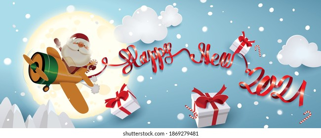Santa Claus piloting an orange plane with red decorative paper text of ribbon Happy New 2021 and shares Christmas gifts