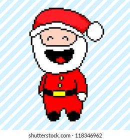 Santa Claus pixel art style, vector illustration
