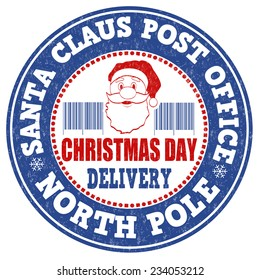 Santa Claus post office grunge rubber stamp on white background, vector illustration