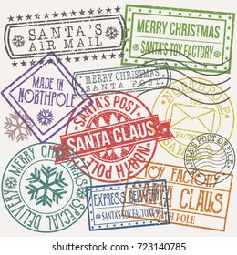 Santa Claus Post Stamp Merry Christmas Vector Art Design Set