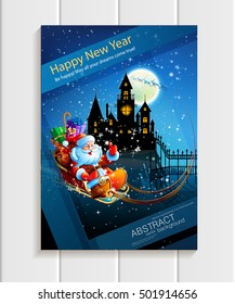Santa Claus with presents in a sleigh flying across the night starry sky on a background of the full moon and the dark silhouette of the castle. Vector. Illustration.