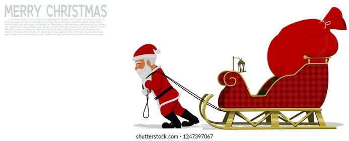 Santa Claus is pulling his sleigh on transparent background
