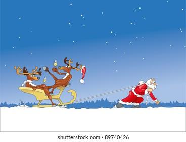 Santa Claus pulls sleigh with drunken reindeer