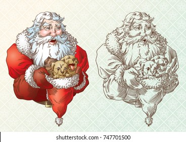 Santa Claus and the puppies in engraving style and in colors