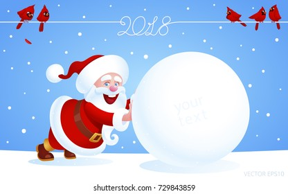 Santa Claus pushes a huge snowball on a winter field. Red Cardinal birds sitting on a wire with a calligraphic logo 2018. Blue wallpaper, banner, invitation card for New Year's events and Xmas sales.