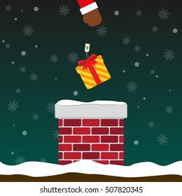 Santa Claus put gift box into chimney on falling snow flake green background