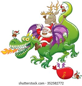 Santa Claus raising his arms, smiling and having fun while riding a green dragon with purple wings and fire-breathing, accompanied by two elves, a reindeer and a flying bag marked with the word toys