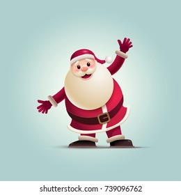 Santa Claus is raising his arms up. Vector illustration. Elements are layered separately in vector file. Easy editable vector graphic.
