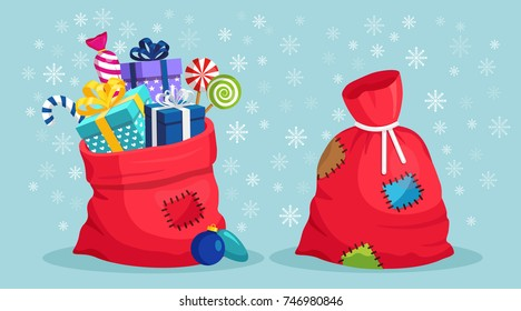 Santa Claus red bag with patch, sack with gift boxes, ribbon isolated on background. Pile of presents, surprises, prizes. Shopping for xmas. Christmas, holidays concept. Vector cartoon illustration