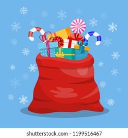 Santa Claus red bag, sack with gift boxes, Pile of presents, surprises, prizes. Shopping for xmas. Christmas, holidays concept. Vector illustration in flat design