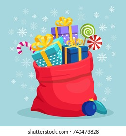 Santa Claus  red bag, sack with gift boxes, ribbon, bow isolated on background. Pile of presents, surprises, prizes. Shopping for xmas. Christmas, holidays concept. Vector flat cartoon illustration