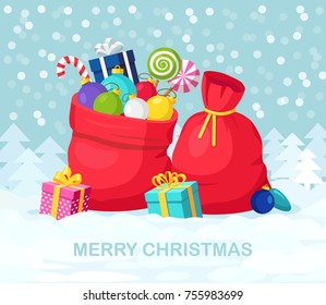 Santa Claus red bag, sack with gift boxes, ribbon, sweets isolated on background. Pile of presents, surprises, prizes. Shopping for xmas. Christmas, holidays concept. Vector cartoon illustration