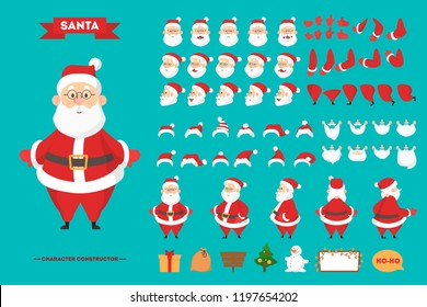 Santa Claus in red clothes character set for the animation with various views, hairstyle, emotion, pose and gesture. Happy old man with white beard. Isolated vector illustration in cartoon style