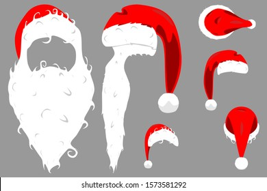 Santa Claus red hat with collar and pompon side, back, front and top view isolated vector illustration