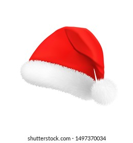 Santa Claus red hat, detail of a New Year's costume, Christmas decoration. Vector