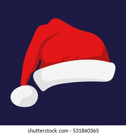 Santa Claus red hat isolated. Santa Christmas hat decoration. vector illustration in flat style.