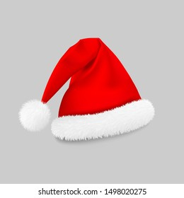 Santa Claus red hat, New Year's costume, Christmas hat on a gray background. Vector