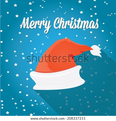 0146a221511b8 Santa Claus red hat on blue night sky with stars background. Vector  illustration. merry christmas creative card - Vector