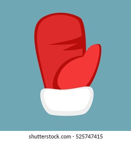 Santa claus red mitten icon isolated on grey. Flat cartoon illustration of red glove for modern design in simple style