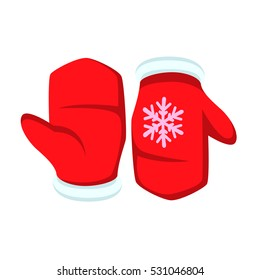 Santa claus red mitten icon with two side back and front version isolated. Flat cartoon illustration of red glove for modern design in simple style