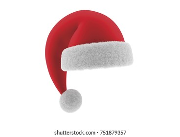 Santa claus red and white hat. Christmas costume. Vector illustration