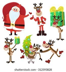 Santa Claus and reindeer