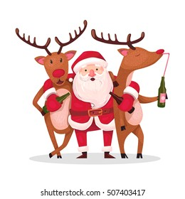 Santa Claus and reindeer. Alternative Christmas: Very drunk Santa with embracing crazy drunk deer after active holiday
