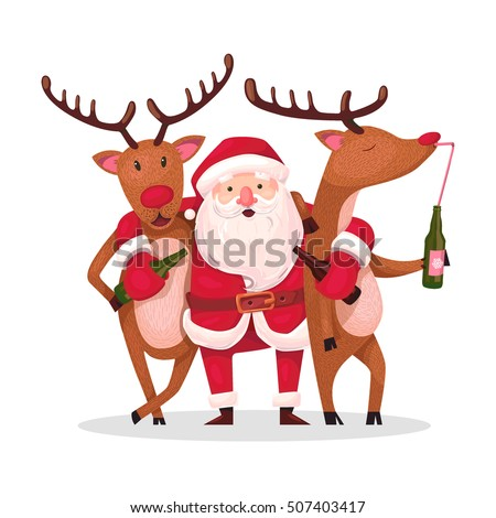 Santa Claus Reindeer Alternative Christmas Very Stock Vektorgrafik