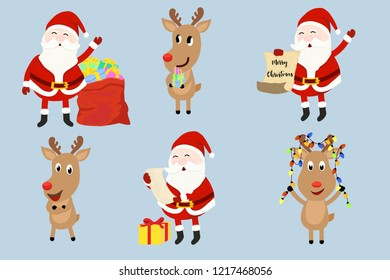 Santa Claus and reindeer character set. concept for christmas and new year tempate element in vector illustration