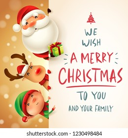 Santa Claus, Reindeer and Elf with big signboard. Merry Christmas calligraphy lettering design. Creative typography for holiday greeting.