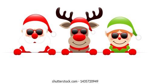 Santa Claus Reindeer And Elf Sunglasses Holding Horizontal Banner