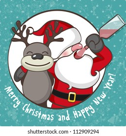 Santa Claus with reindeer. EPS 10 vector illustration for Christmas design.