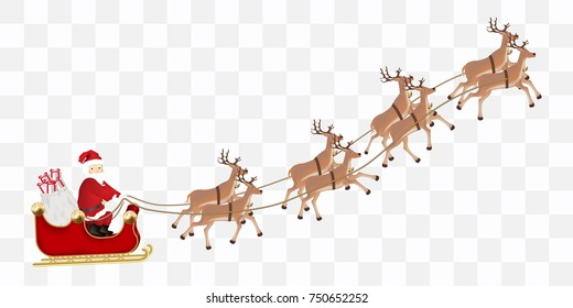santa claus with a reindeer flying vector - Santa And Reindeer Pictures