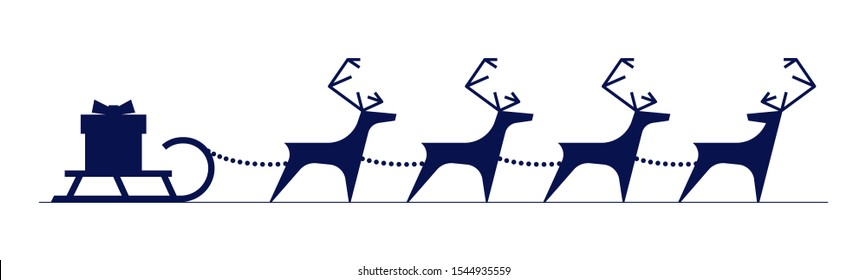 Santa Claus reindeer harness with gift box on sleigh isolated on white background. Merry Christmas and Happy New Year greeting card. Xmas deer and sled silhouette vector Illustration