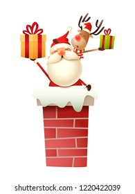 Santa Claus and Reindeer on the chimney with gifts vector illustration isolated on white background