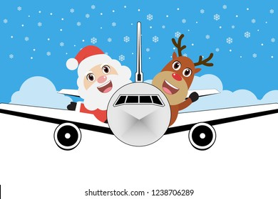 Santa Claus and Reindeer on plane. Christmas snow scene.