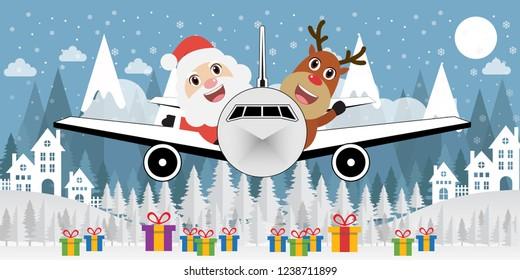 Santa Claus and Reindeer on plane. Christmas snow scene. flat design