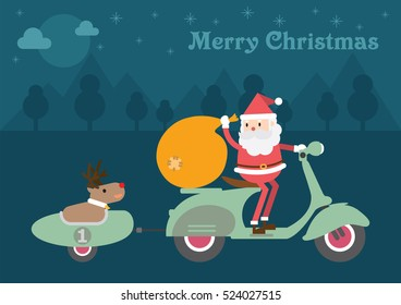 Santa Claus and Reindeer On Vespa Scooter. Christmas card background.