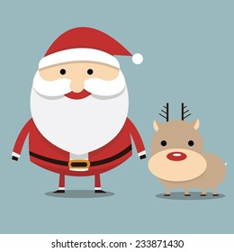 Santa claus and reindeer red nose, flat design