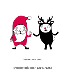 Santa Claus and reindeer  Rudolph.  Christmas greeting card. Vector illustration