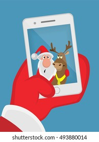 Santa Claus and reindeer self-portrait