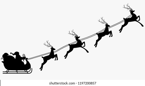 Santa Claus with reindeer silhouette. Vector Illustration.
