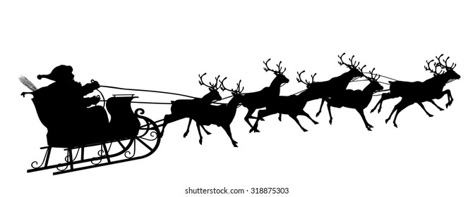 Santa Claus with Reindeer Sleigh - Black Silhouette - Outline Shape of Sledge, Sled - Holiday Season Symbol - Christmas, XMas, X-Mas.
