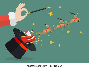 Santa claus with reindeer sleigh flying out of the magic hat. Vector illustration