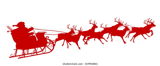 Santa Claus with Reindeer Sleigh - Red Silhouette - Outline Shape of Sledge, Sled - Holiday Season Symbol - Christmas, XMas, X-Mas.