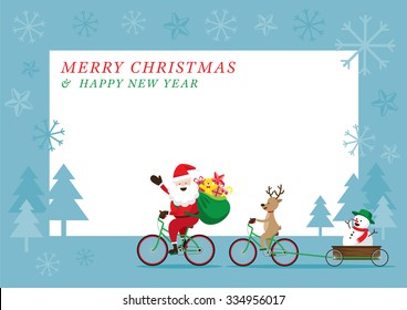 Santa Claus, Reindeer, Snowman Cycling Bicycles, Characters, Merry Christmas and Happy New year