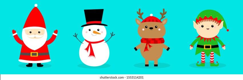 Santa Claus Reindeer Snowman Elf Deer line set. Merry Christmas. Happy New Year. Red green black hat, scarf. Cute cartoon funny kawaii baby character. Greeting card. Flat design Blue background Vector