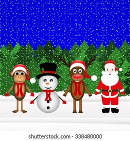 Santa Claus, reindeer, snowman and monkey in the Christmas forest