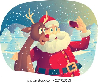 Santa Claus and the Reindeer Taking a Photo Together -Vector cartoon of Santa Claus and his best friend taking a Christmas picture together. EPS AI8 compatible. No transparencies