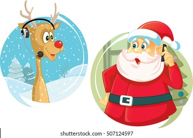 Santa Claus and the Reindeer Talking on The Phone Vector - Santa Claus and his friend using Christmas hotline